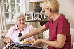 a woman in hospice care receiving a meal cooked by her hospice care provider