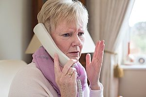 a senior with dementia who is confused on the phone