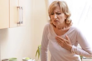 senior lady with chest pain